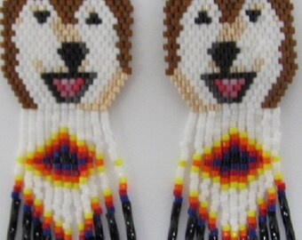25 Hand Beaded  Laughing Red and White wolf, Alaskan Malamute, Husky dog earrings with diamond design in fringe