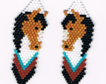 Hand Beaded  Brown Horse Head with black mane  totem earrings