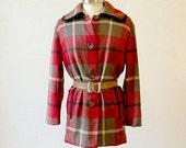 RESERVED Plaid Wool Coat  / Pendleton Wool / Plaid Wool Jacket / 60s 70s / Wool Jacket Women / M-L