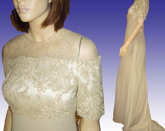 UNWORN Vntg BADGLEY MISCHKA Runway Couture Wedding Prom Gown w Train Orig Tags Bust 38