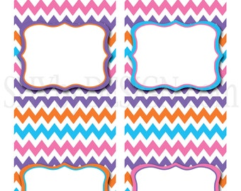 PRINTABLE Fiesta Chevron Food & Drink Labels
