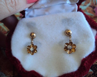 REDUCED  Gold and Diamond Buttercup Dangle Earrings