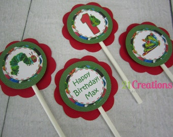 Hungry Caterpillar Cupcake Toppers - set of 12