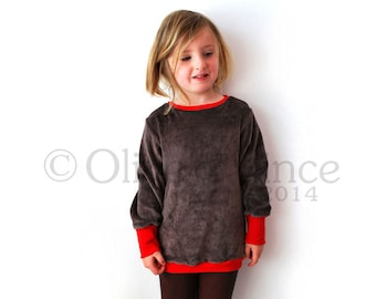 SAVE 10% - Childrens top pullover retro brown velour  taupe teddy bear cuddly soft chocolate red strawberry baby babies designer unique