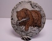 Mt. St. Helen Ash plaque with stand Brown Bear Fishing