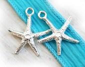 Starfish silver charms, sea star beads, Greek casting, nautical - 20mm - 2pc - F026