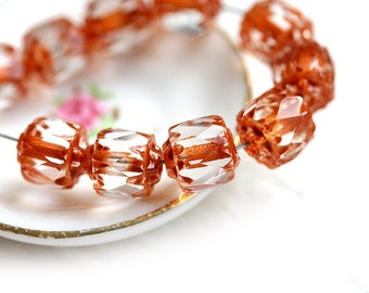 Cathedral beads - Crystal Clear with Caramel Brown ends - czech glass, fire polished, round, spacers - 6mm - 10Pc - 0441