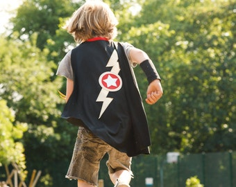 Lightning bolt cape... superhero cape... black gold & silver