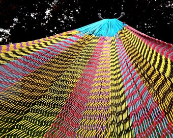 Multi color  Mexican inter-looping hammock,  Family size ,100% cotton