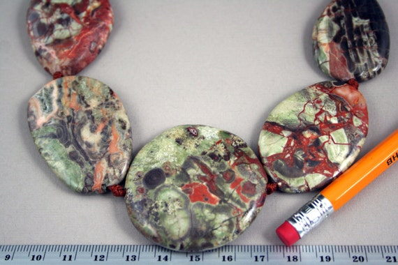 Last Strand As Shown- Natural Mushroom Jasper Irregular Flat Oval Beads (For One Necklace) Orig.Price USD 18.99