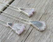 Amethyst Triangle Necklace: Geometric Purple Pendant with Sterling Silver
