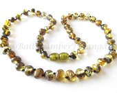 Baltic Amber Necklace Green Rounded Beads. For Adults