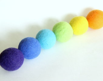 Wool dryer balls rainbow, set of 6. 100% wool. Felted wool dryer balls, laundry balls, eco-laundry, green cleaning. Handmade in Connecticut.