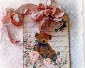 Reneabouquets Shabby Chic Teddy Bear Tag Scrapbook Embellishment, Wedding Decoration, Home Decor