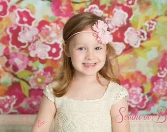 Baby headband, infant headband, newborn headband - light pink chiffon scalloped ruffle flower and rhinestone center headband