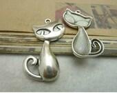 10 pcs 20x40mm antique silver large cats pussy charms pendants fc92597