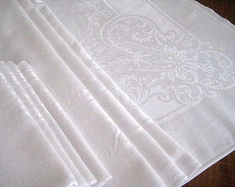 "Vintage Linen Damask Tablecloth, 4 Dinner Napkins, White Set, Flowers, Swirls. 79"" x 57"""
