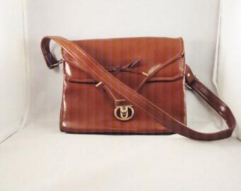 Vintage Purse 60s 70s Warm Brown Faux Leather Envelope Shoulder Bag Purse