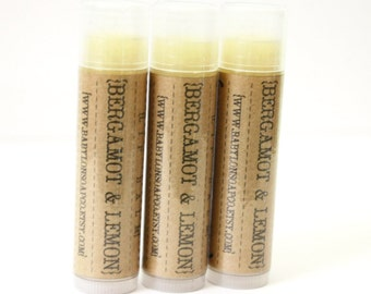 SHOP CLOSING SALE . Bergamot Lemon Lip Balm . Cocoa Butter and Beeswax . 100% Natural Lip Balm . Tube Lip Balm