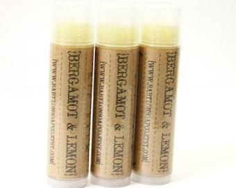 SHOP CLOSING SALE . Bergamot Lemon Lip Balm . Cocoa Butter and Beeswax . 100% Natural Lip Balm . Tube Lip Balm