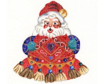 Santa needlepoint Christmas ornament - King of hearts tassel Santa - SALE