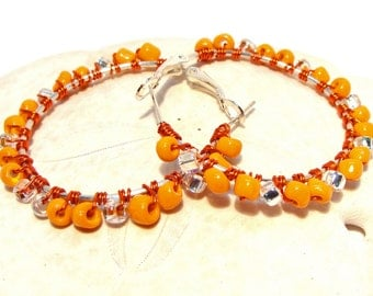Orange and Clear Beads Wire Wrapped on Hoop Earrings