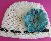 Winter white crochet baby beanie for 6 to 9 mos. girl