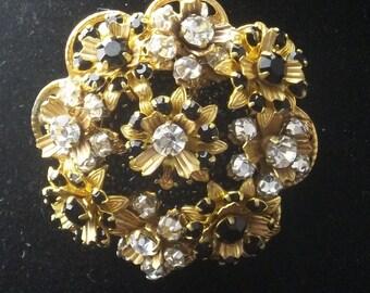Vintage Brooch Stanley Hagler N.Y.C. Rhinestones Swarovski Black Crystal Costume Jewelry Pin on Etsy