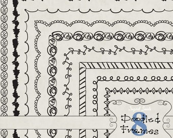 Doodled Frames 8 - 8.5 x 11 - Digital Clipart for card making, scrapbooking, invitations, printed products, commercial use