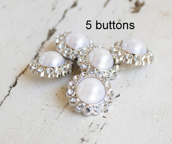 Pearl and Rhinestone Buttons - Set of 5 - Pearl and Rhinestone 23mm Buttons - Wholesale Button Lot - Plastic Acrylic Buttons