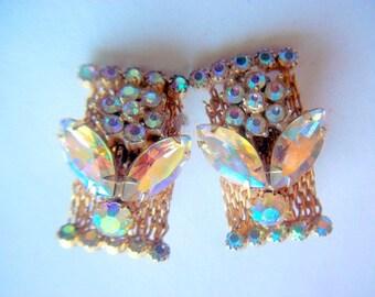 Vintage AB Rhinestone Flower Gold Tone Clip On Earrings