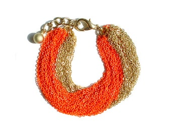Multi Strand Chain Bracelet - Neon Orange