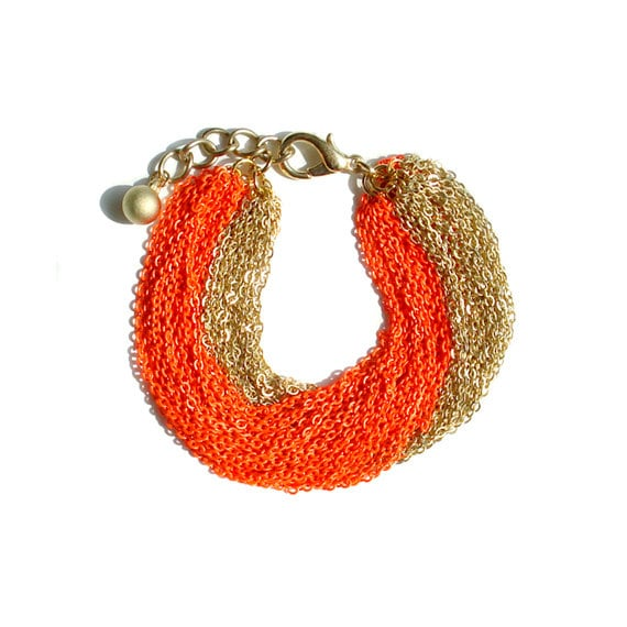 Multi Strand Chain Bracelet - Neon Orange
