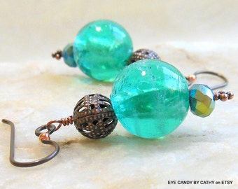 Turquoise and copper earrings, turquoise colored lampwork beads, antique copper filigree