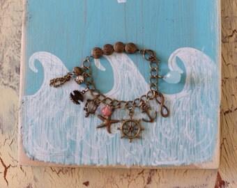 Nautical Charm Bracelet - Antique Brass