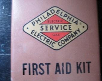 Vintage Philadelphia Electric Company Industrial Metal FIrst Aid Kit