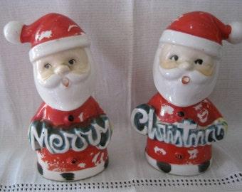 Cute Chippy Vintage Santa Salt & Pepper Shakers