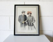 20% Off - Alonzo Kimball Art - Late 19th Century/Early 20th Century Artist - Couple in Winter Coats - Charcoal and Pastel