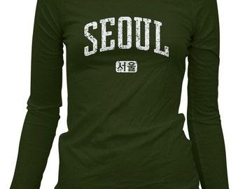 Women's Seoul LS T-shirt - Korea Long Sleeve Ladies' Tee - S M L XL 2x - 3 Colors