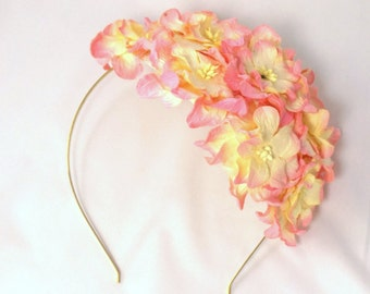 Champagne Vintage look bridal floral headpiece with gardenias