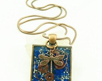 Orgone Energy Pendant - Lapis Lazuli in Copper Square - Dragonfly - Positive Energy - Artisan Jewelry