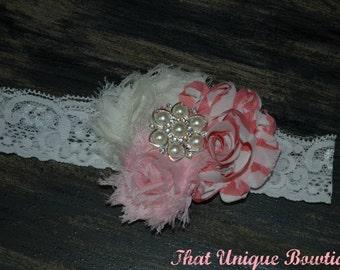 Shabby Chic Trio Headband...Baby Bows.. Shabby Rose Headband...Baby Girl Headband...Vintage Look...Photo Prop Headband.