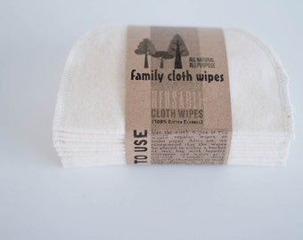 Baby Cloth Wipes - Reusable Baby Cloth Diaper Wipes - 10 Solid Set of  Wipes - Solid Cream