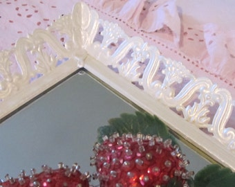 Vintage Upcycled Mirrored Tray Slim Rectangular pearlized Vanity Dresser mirror Wall Mirror