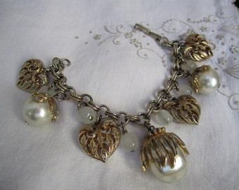 Vintage Chunky Charm Faux Pearl Charm Statement Bracelet Goldtone Silvertone Heart Gold wash Faux Pearl