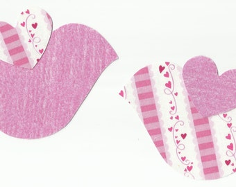 Set of 2 Pink Valentine Love Birds Fabric Iron on Appliques