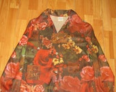 Vintage 1970s Roses Nature Ornate Art Photo Graphic All Over Print Disco Shirt