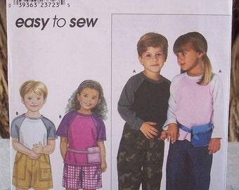 Simplicity 9080 Easy To Sew Childs Top and Pants or Shorts Sewing Pattern  Size A 3,4,5,6,7,8  Copyright 1999