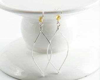 Sterling Silver Wire Earrings, Silver Leaf Dangles, Light Weight Jewelry, Silver Wire Earrings, Long Dangles, Hammered Wire Earrings, Unique