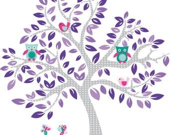 Nursery tree- Children's tree decal- Girls decal- Owl tree- ON SALE